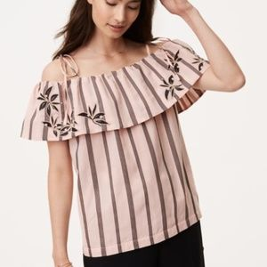 NWT LOFT Striped Embroidered Off Shoulder Blouse